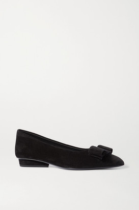 Salvatore Ferragamo Viva Bow-embellished Suede Point-toe Flats - Black