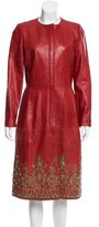 Oscar de la Renta Leather Embellished Coat
