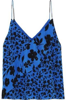 Alice + Olivia Lavonia Ruffled Floral-print Silk Crepe De Chine Camisole