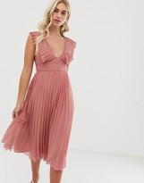 Asos Design DESIGN plunge pleated midi dress with lace trim