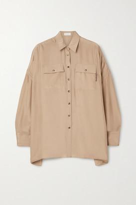 Brunello Cucinelli Bead-embellished Washed-silk Shirt - Beige