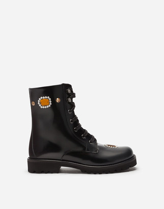 Dolce & Gabbana Polished Calfskin Combat Boots With Bejeweled Embellishment