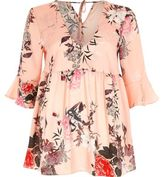 River Island Womens Pink satin floral print smock blouse