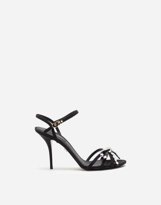 Dolce & Gabbana Satin Sandals With Rhinestone Detailing