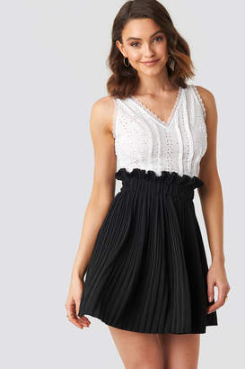 NA-KD Paper Waist Mini Skirt Beige