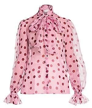 Dolce & Gabbana Women's Polka Dot Silk Organza Tieneck Blouse