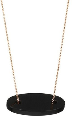 ginette_ny 18K Rose Gold & Black Onyx Mini Ellipse Pendant Necklace