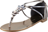 Giuseppe Zanotti Jeweled Thong Sandal, Pewter