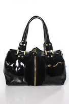Jimmy Choo Black Patent Leather Trim Suede Mandah Satchel Handbag