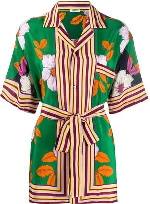 P.A.R.O.S.H. Silk Floral-Print Tied Shirt