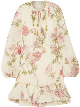 Giambattista Valli Ruffle-trimmed Gathered Floral-print Silk-chiffon Mini Dress