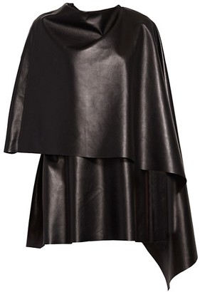 Valentino Asymmetric Vented Leather Cape Dress