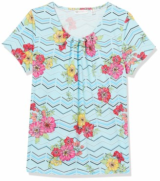 Rafaella Women's Gellone Floral Print Short Sleeve Top
