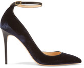 Jimmy Choo Lucy Leather-trimmed Velvet Pumps - Navy