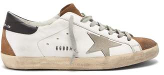 Golden Goose Superstar Panelled Leather Trainers - Mens - Brown White