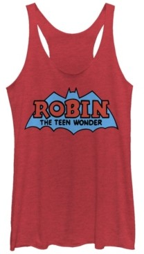 Fifth Sun Dc Batman Robin The Teen Wonder Logo Tri-Blend Women's Racerback Tank