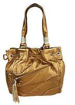 B. Makowsky Glove Leather Drawstring Shopper with Stitch Detail