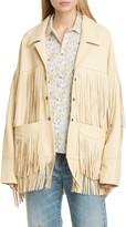 R 13 Fringe Trim Leather Jacket