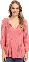 Lucky Brand Women's Lace Mixed Peasant Top
