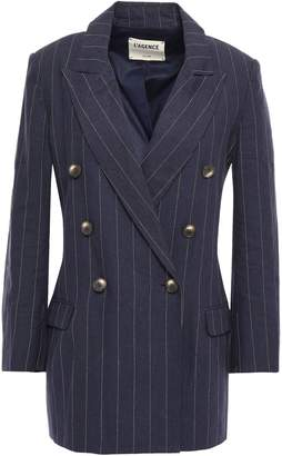 L'Agence Brea Double-breasted Pinstriped Linen And Cotton-blend Blazer