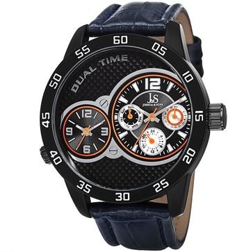 Joshua & Sons Men's Quartz Dual-Time Multifunction Leather Blue Strap Watch