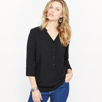 Anne Weyburn Draping Straight Tunic with Grandad Collar and Pockets