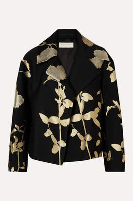 Dries Van Noten Vaudi Cropped Metallic Floral-jacquard Jacket - Black
