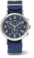 Timex Weekender Stainless Steel And Webbing Chronograph Watch - Navy