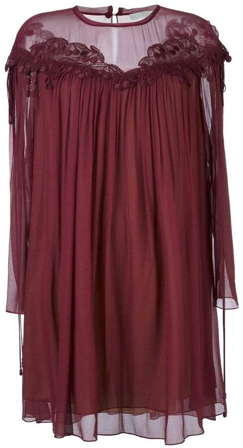 Chloé cherry guipure dress