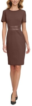 Calvin Klein Faux-Leather-Trim Sheath Dress