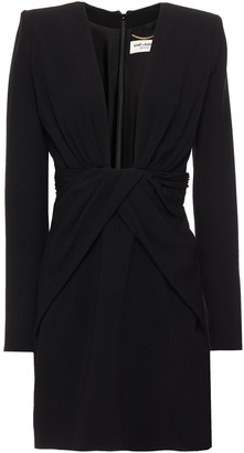 Saint Laurent Draped Crepe Mini Dress