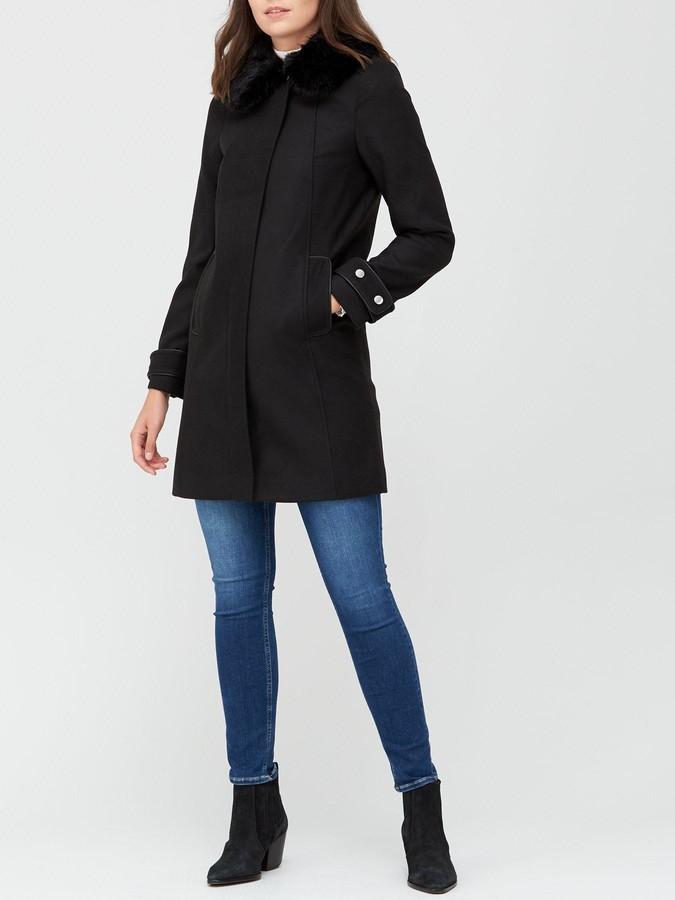 Very Zip Coat With Faux Fur Collar - Black