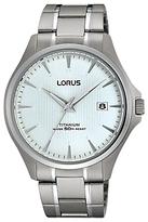 Lorus Rs933cx9 Date Titanium Bracelet Strap Watch, Silver/blue