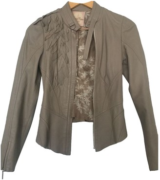 Tracy Reese Beige Leather Jacket for Women
