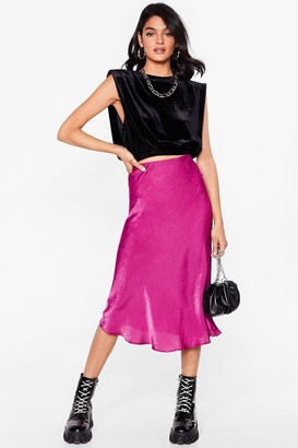 Nasty Gal Womens Touch By Touch Satin Midi Skirt - Red - 6, Red