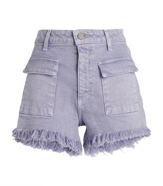 Le Jean Celeste Frayed Denim Shorts