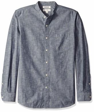 Goodthreads Men's Standard-fit Long-sleeve Band-collar Chambray Casual Shirt