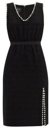 Giambattista Valli Faux Pearl-trimmed Cotton-blend Tweed Midi Dress - Black
