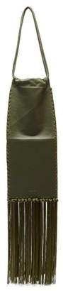 Jil Sander Fringed Leather Shoulder Bag - Womens - Khaki Multi