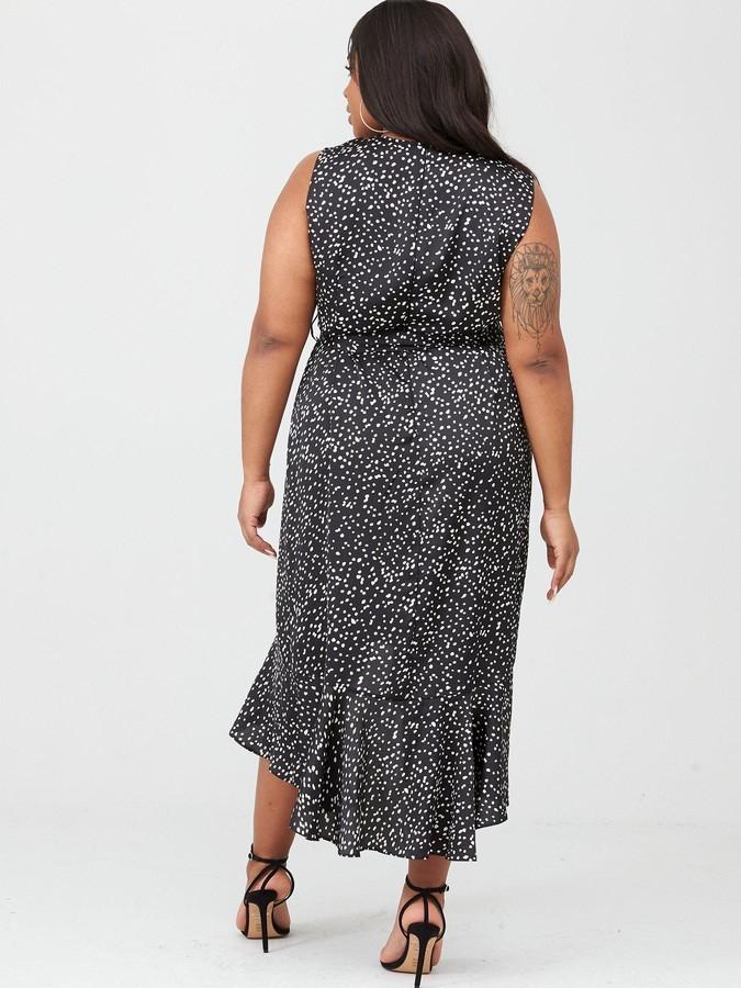 Wrap Spot Midi Dress - Black/White