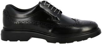 Hogan Brogue Shoes Route 393 Derby In Brushed Leather With Memory Sole And Brogue Motif