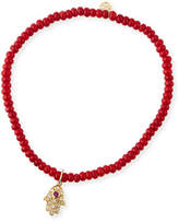 Sydney Evan 3mm Beaded Coral Bracelet with Diamond Hamsa Pendant
