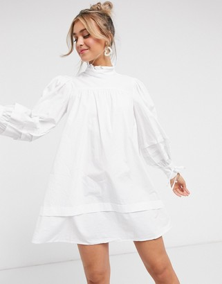 In The Style x Lorna Luxe high neck tie detail mini shirt dress in white