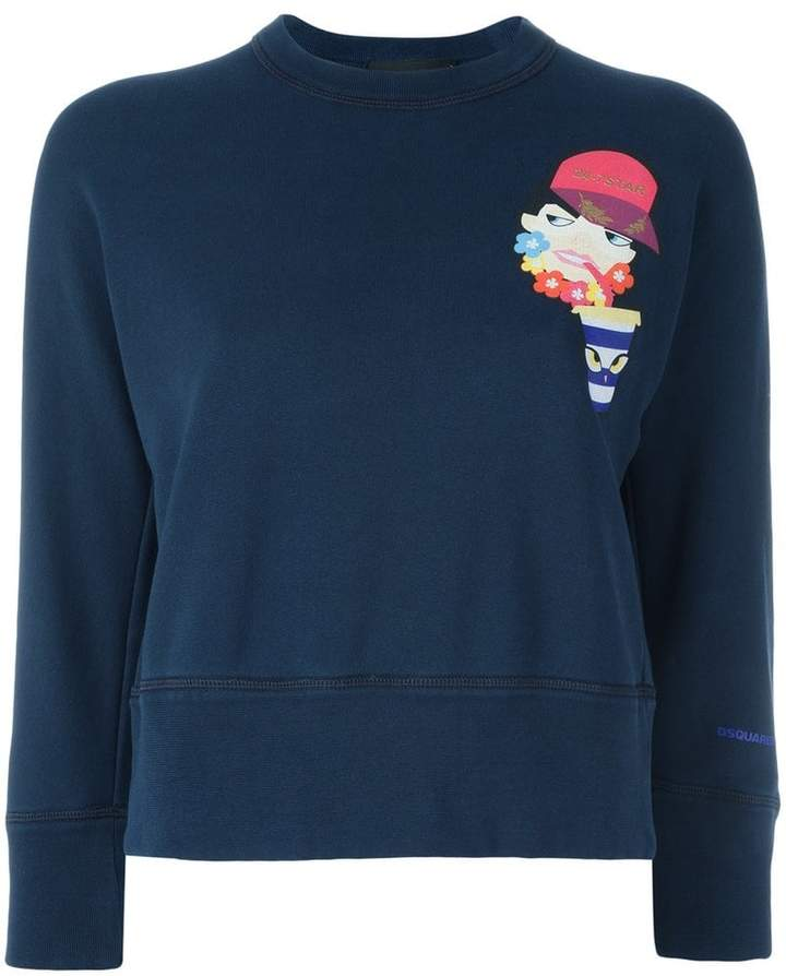 DSQUARED2 drinking decal cropped sweatshirt