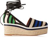 Lanvin Striped canvas espadrille wedge sandals