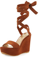 Stuart Weitzman Backtie Suede Ankle-Wrap Wedge Sandal