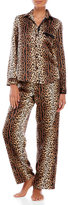 Betsey Johnson Two-Piece Animal Print Satin Pajama Set