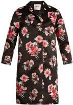 MSGM Floral-print satin coat