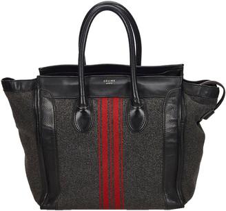Celine Black Wool And Leather Medium Racer Stripe Everyday Bag