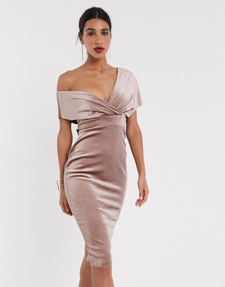 ASOS DESIGN velvet fallen shoulder midi pencil dress with tie detail in champagne